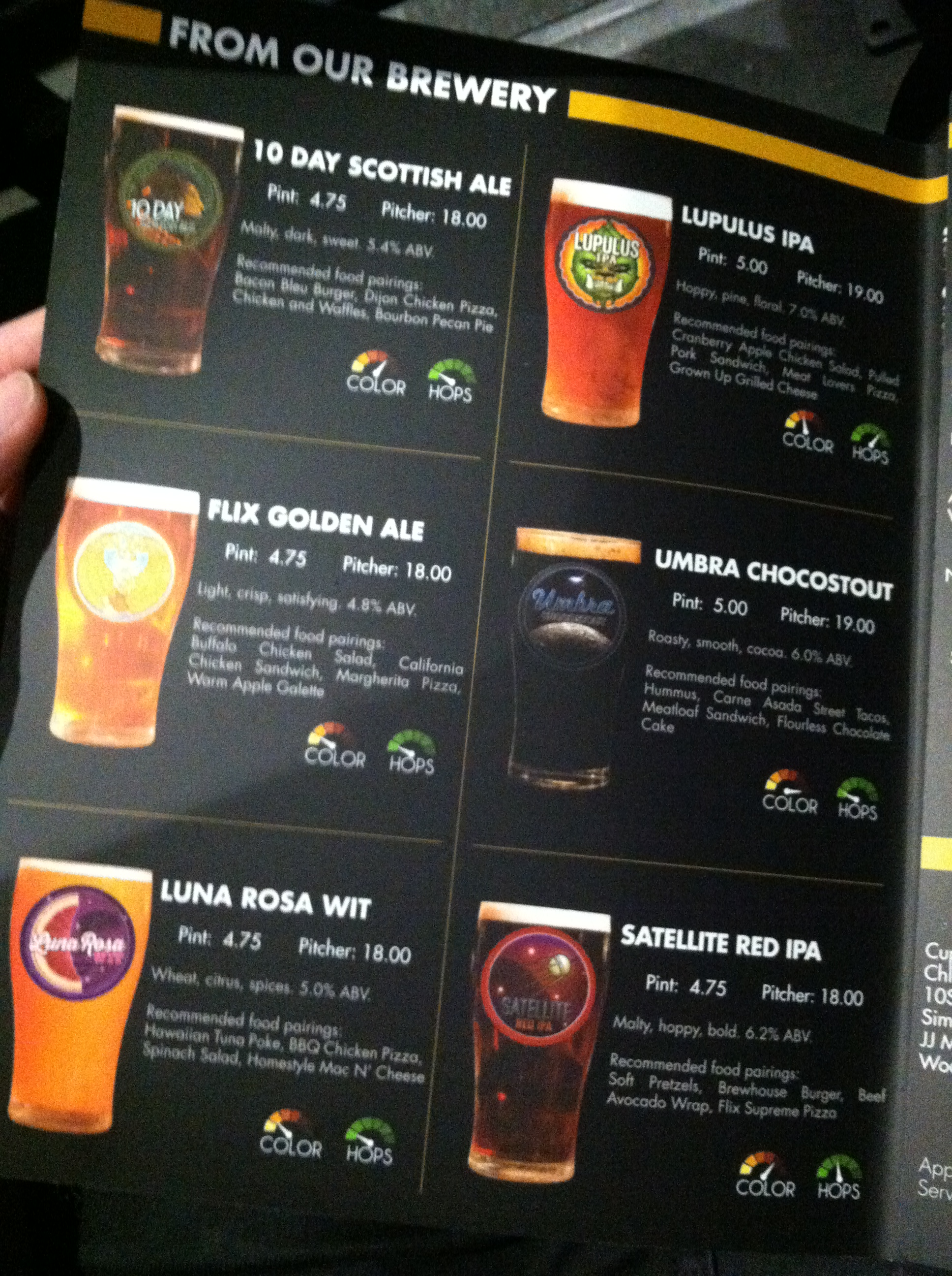 Flix brewhouse beer menu des moines foodster for Nick s fish house menu